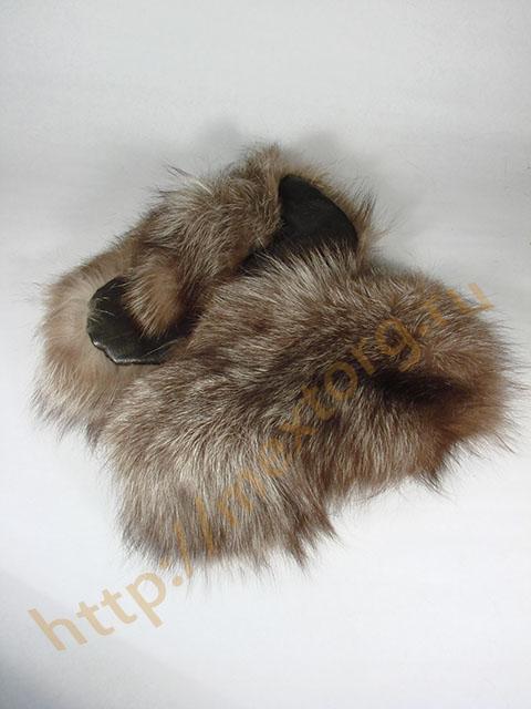 Варежки из лисы- чернобурки с кожаной ладонью!  Пушистые и теплые!